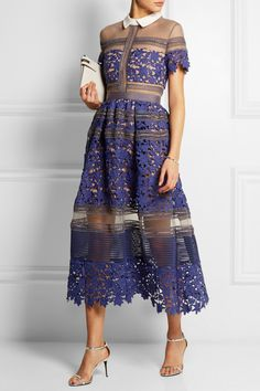 Liliana paneled floral-lace and mesh dress