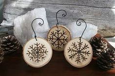 Snowflake Ornaments Set of 3 Woodburning on Birch