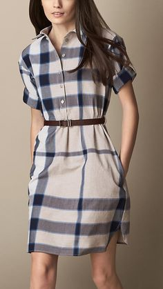 Check Shirt Dress with Leather Belt | Burberry