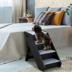 4-Step Wooden Ramp Carpeted Pet Stairs with Handle $55.95 + Free Shipping This is the folding pet stair which can help your pet get to their favorite resting spot or in and out of your vehicle.