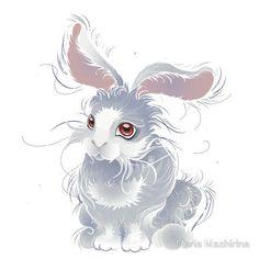 Fuzzy magic white rabbit
