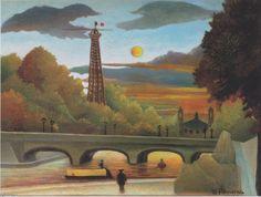 * La Tour Eiffel la Seine au coucher du soleil 1910 le Douanier Rousseau (Henri Rousseau)