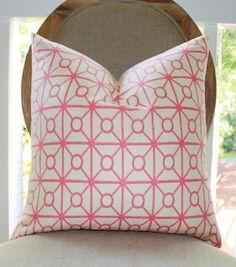 Pink Pillow Cover  Pink Creme Geometric Trellis by MotifPillows, $36.00
