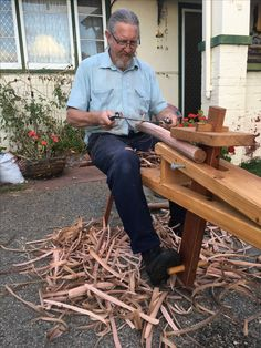 A nice way to end the day, ridin' the horse in my front yard as the sun goes down. Roughing out stool legs from a Silky Oak log.