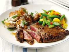 Curried Steaks with Roasted Potatoes & Mango-Chilli Salad