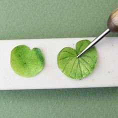 An embossing tool is used to press leaf veins into a dolls house scale water lily leaf. - Photo © 2011 Lesley Shepherd