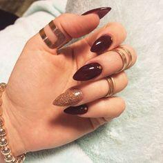 My stiletto/almond red wine nails