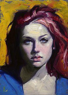 """Deep Red"" - John Larriva, oil on hardboard, 2014 {figurative #expressionist art female redhead #impasto woman face portrait painting #loveart} larriva.blogspot.com"