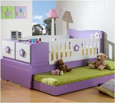 cuna con cama - Buscar con Google Nursery Room, Kids Bedroom, Baby Room, Kids Rooms, Little Girl Rooms, Kid Beds, Cot, Kids Furniture, New Baby Products