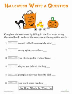 Halloween First Grade Writing Sentences Worksheets: Writing Questions: Halloween