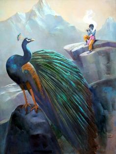 Paintings by Dilip Kadam Jai Shree Krishna, Lord Krishna Images, Radha Krishna Pictures, Radha Krishna Love, Krishna Radha, Krishna Avatar, Lord Krishna Wallpapers, Indian Gods, Indian Art