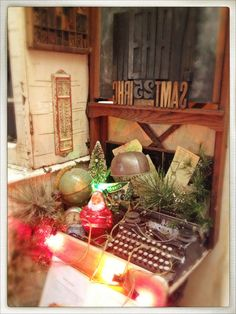 Vintage, Rustic Christmas Decorations ~ Globe, Desk Lamp, Typewriter, Clock, Wooden Stamps