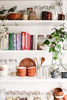 Open shelving for cooking materials and cookbooks