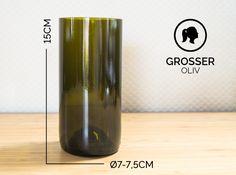 Gläser - GROSSER / Ø 7-7,5CM / OLIVGRÜN (Glas / Vase) - ein Designerstück von Glaeserne_Transparenz bei DaWanda