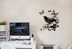 Wall Vinyl Decal Sticker Art Design with Birds Roses and Butterflies Room Nice Picture Decor Hall Wall Chu710 Thumbs up decals http://www.amazon.com/dp/B00JA794E2/ref=cm_sw_r_pi_dp_beDItb1T012BCFEX