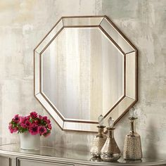 A visually striking beveled wall mirror in a unique octagon shape. Style # at Lamps Plus. Octagon Mirror, Beveled Mirror, Feature Wall Living Room, Spiegel Design, Mirror Shapes, Entryway Decor, Wall Mirror, Mirrors, Home Accessories