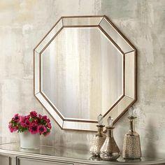 "Hornbeck Gold Octagon 34"" x 34"" Beveled Wall Mirror master vanity $199.95"