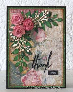 Country View Challenges - Card with 3D roses by Tim Holtz