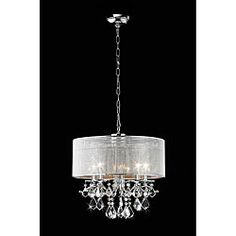 @Overstock - Add elegance and personality to any room with this circular crystal chandelier. With iridescent crystals and a silver rhinestone shade, this hanging chandelier will transform a room into a ballroom and a simple house into a refined home.http://www.overstock.com/Home-Garden/Silver-Rhinestone-Shade-5-light-Round-Crystal-Chandelier/4737592/product.html?CID=214117 $169.99