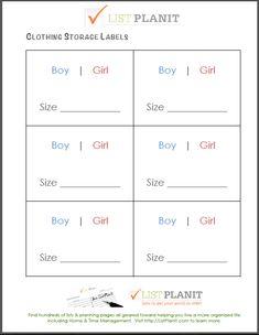 Free Printable Clothing Storage Labels