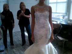 Stunning illusion neckline on this Lela Rose gown