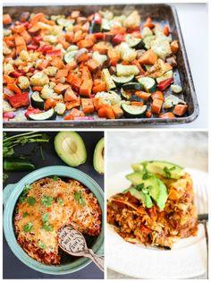 Pastel de tortilla vegetariana en capas con verduras asadas dulces papas, frijoles refritos, además de la salsa una enchilada casera.  Agregue el pollo para la proteína extra!