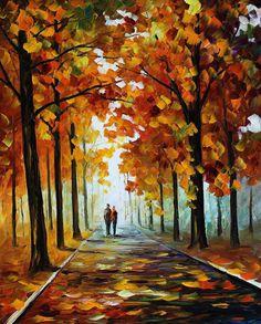 Bronze Fall Figures Autumn Landscape Oil by AfremovArtStudio