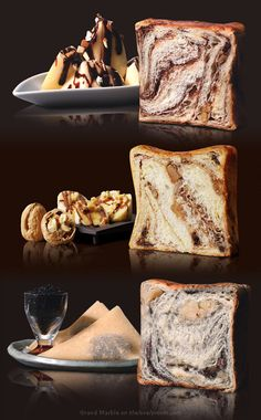 Luxurious breads and pastries from Grand Marble - black sesame seeds, apple, chocolate banana, nuts