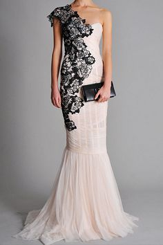 !!! Marchesa Spring 2010 RTW Nude One-Shoulder Draped Tulle Floral Embroidered Strapless Gown