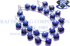 Lapis Lazuli Faceted Flower (Quality A+) Shape: Flower Faceted Length: 18 cm Weight Approx: 15 to 17 Grms. Size Approx: 13.5 mm Price $41.86 Each Strand