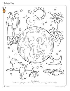 The Creation Coloring Page Depicting Earth Adam And Eve