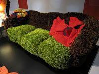 Modern green moss furry soft grass pillow cover nesting