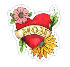 Mom Heart Tattoo Watecolor with Flowers Art Print by latheandquill Tattoo Graphic, Graphic Art, Mom Tattoos, Sleeve Tattoos, Mom Heart Tattoo, Watercolor Tattoo Sleeve, Mexican Art, Quilling, Flower Art