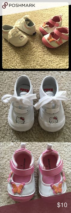 Infant girl shoes size 2 Super cute pairs of shoes gently used. Both size two. First pair are white Hello Kitty Keds, and the second is by Healthtex and have a velcro closure,  padded inside rubber sole and are pink and white with butterflies.  smoke free pet free home Keds, and Healthtex Shoes
