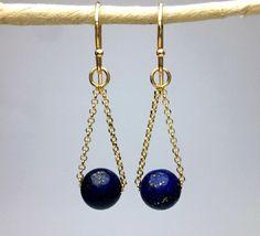 Lapis Lazuli Earrings Gold Drop earrings 18K Gold Vermeil