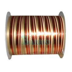 Rollo de Cinta Decorativa color rayado oro brillo y rojo mate Medidas: 10mm x 25mts.
