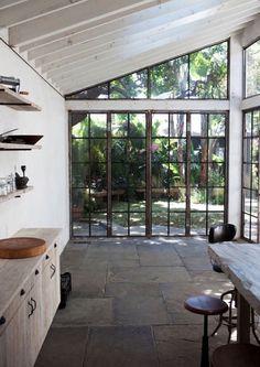 Stone floor in a kitchen