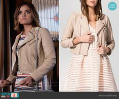 Aria's striped short sleeve dress and blush leather jacket on Pretty Little Liars.  Outfit Details: https://wornontv.net/56019/ #PLL