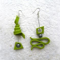 Green polymer clay earrings