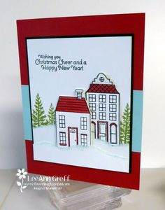 LeeAnn's CAS card: Holiday Home & its framelits, Lovely as a Tree, & Happy Hour. All supplies from Stampin' Up!