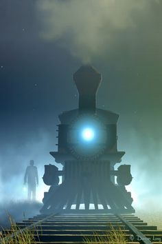 """""""None of us had ever overtaken a train before, and we were on edge, not knowing what to expect. Within minutes, a glaring headlight came into view beaming through the fog."""" The Way Back 'Round by Brenda Sorrels http://www.amazon.com/Way-Back-Round-Brenda-Sorrels/dp/1483405052/ref=sr_1_1?s=books&ie=UTF8&qid=1391197622&sr=1-1&keywords=The+Way+Back+%27Round"""