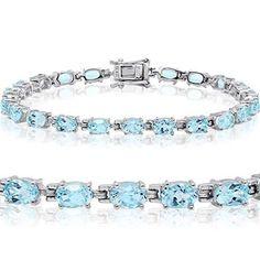 Women Jewelry Fashion Christmas Gift Tennis Bracelet Sterling Silver Blue Topaz #AmandaRoseCollection