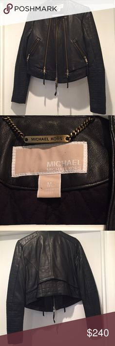 NWOT Michael Kors leather jacket New without tags Michael for Michael Kors leather moto jacket. Buttery feeling black leather with zipper detail. Quilted inside with shoulder pads. Size M, runs on smaller side MICHAEL Michael Kors Jackets & Coats