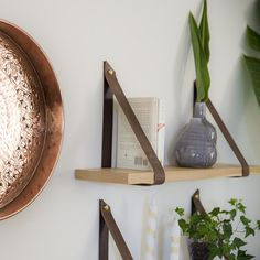 Brown leather straps for hanging shelf. Straps only, floating shelves, living room decor, leather sh