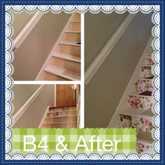 Before and after my staid revamp , wallpaper and carpet tiles cut to size for treads xx
