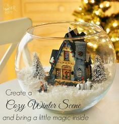 DIY Cozy Winter Scene With Lighted House