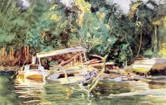 John Singer Sargent (1856 — 1925, USA) Derelicts. 1917 watercolor. 34.5 x 53.2 cm.