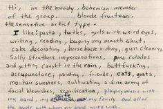 extract from Kurt Cobain's journals // piña coladas and getting caught in the rain...really kurt?