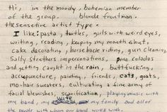 extract from Kurt Cobain's journals // piña coladas and getting caught in the rain...really kurt?