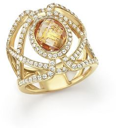 Citrine and Diamond Geometric Ring in 14K Yellow Gold